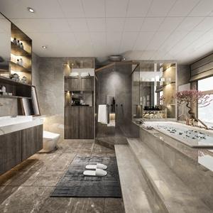 现代卫生间 现代卫浴 卫生间 洗手台 淋浴间 马桶