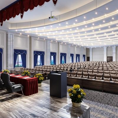 現代大型會議室報告廳禮堂3D模型【ID:727811866】