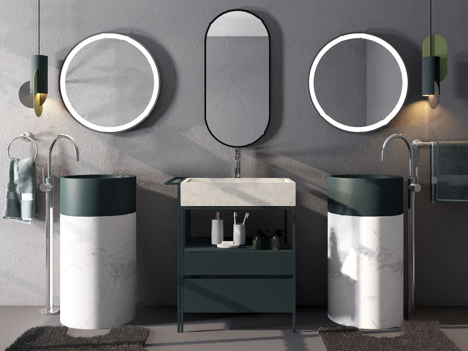 现代立式大理石洗手台3d模型