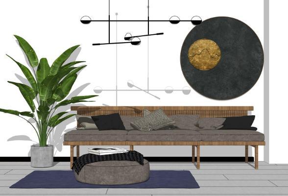 北欧多人沙发茶几组合SU模型【ID:748073658】