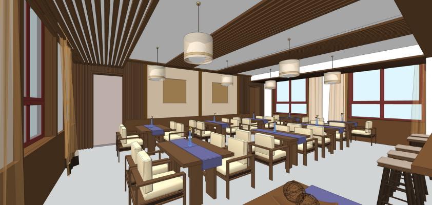 藏式风格餐厅SU模型【ID:948080892】