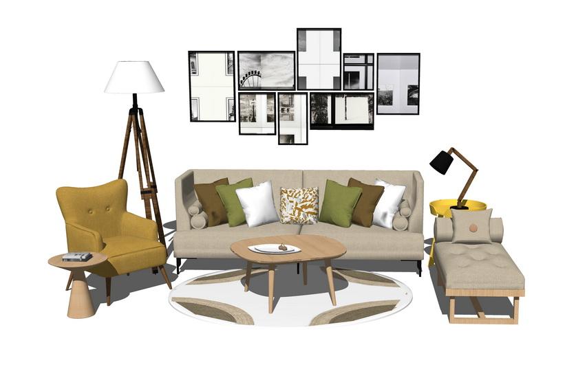 北欧风格客厅沙发茶几组合SU模型【ID:436380175】