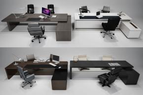 现代办公桌椅大班台摆件组合3D模型【ID:627805627】