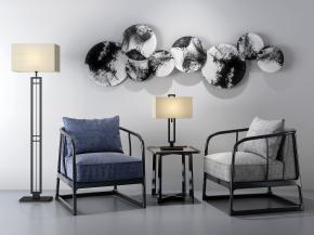 新中式休闲沙发边几灯具组合3D模型【ID:127752231】