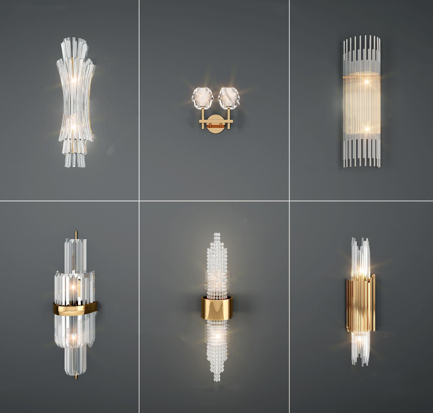 现代金属壁灯组合3D模型【ID:743095980】