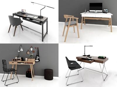 現代書桌組合3D模型【ID:932410003】