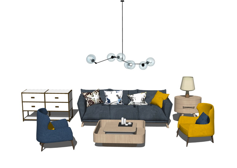 北欧风格客厅沙发茶几吊灯组合SU模型【ID:436381119】