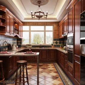 美式厨房3d模型【ID:128415418】