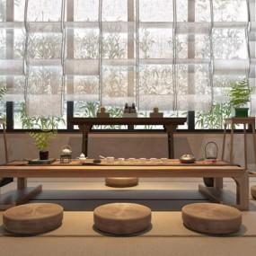 禅意小茶室软装搭配组合3D模型【ID:328240682】