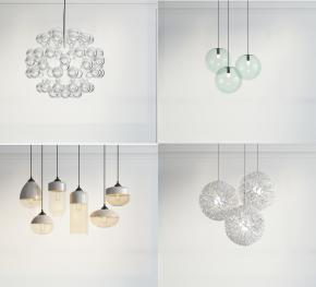 現代精美玻璃吊燈組合3D模型【ID:527799895】