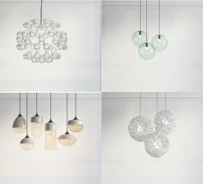 现代精美玻璃吊灯组合3D模型【ID:527799895】