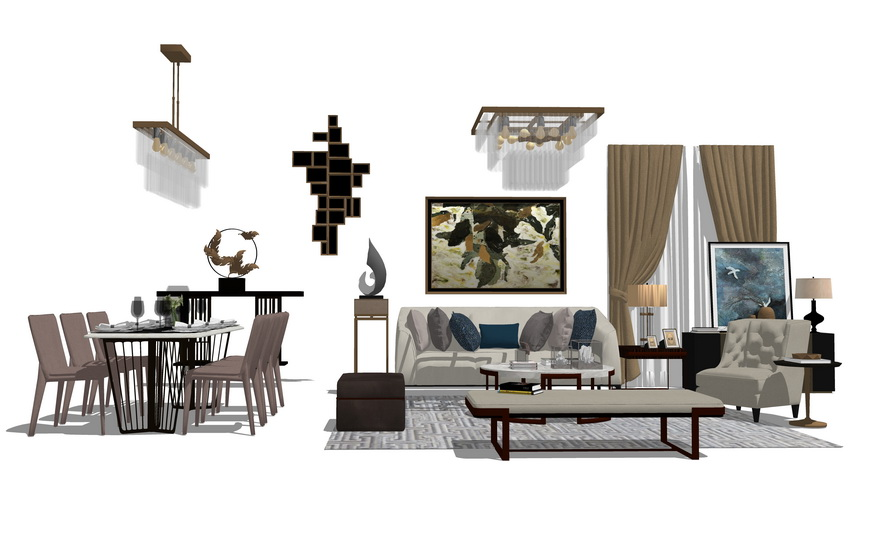 現代風格客廳餐廳家具組合SU模型【ID:736381653】
