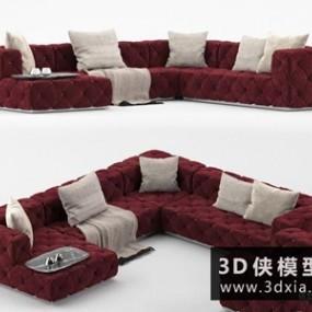 现代转角沙发国外3D模型【ID:729472680】
