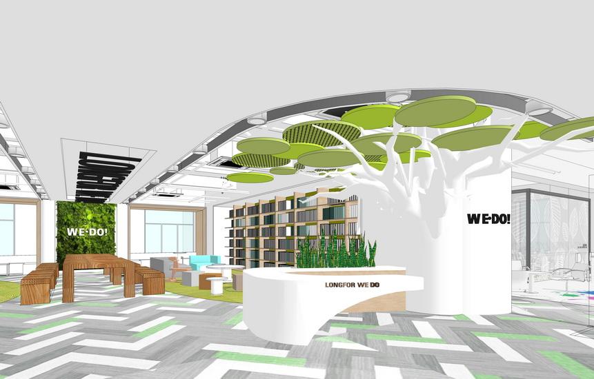 現代辦公室室內設計SU模型【ID:936381857】