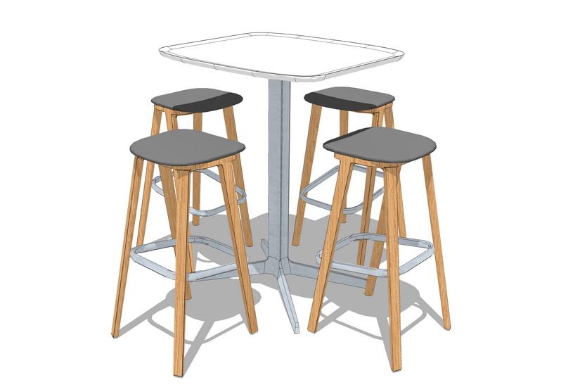 吧台桌椅SU模型【ID:636381662】