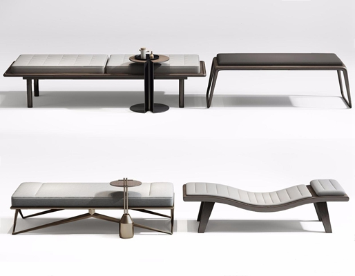 新中式床尾凳組合3D模型【ID:427986613】