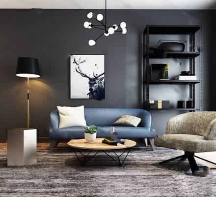 现代沙发茶几组合3D模型下载【ID:319428327】