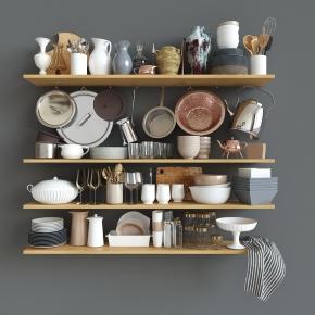 现代水杯碗碟厨房器皿组合3D模型【ID:927822323】
