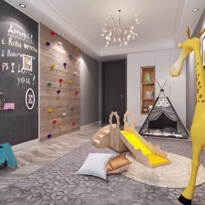 现代儿童活动室儿童房3D模型【ID:128408251】