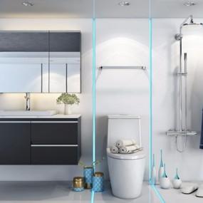 现代浴室柜组合3D模型【ID:127860738】