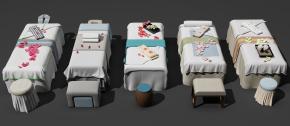 新中式美容護理床按摩床凳子組合3D模型【ID:627805914】