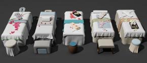 新中式美容护理床按摩床凳子组合3D模型【ID:627805914】
