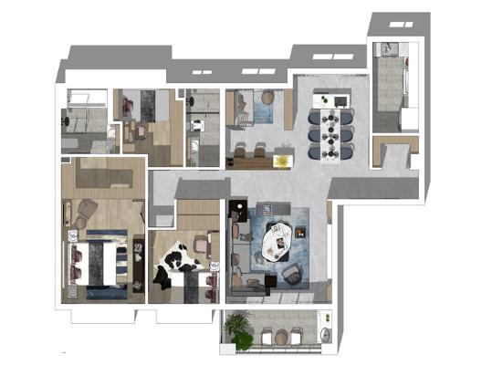 現代風格三房兩廳室內設計SU模型【ID:446377922】