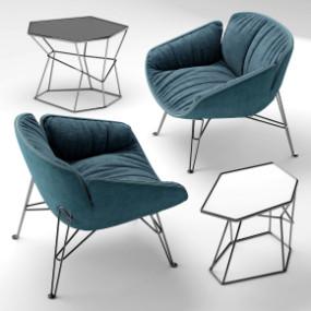 现代布艺单椅边几组合3D模型【ID:227780438】