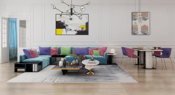 現代輕奢沙發組合餐桌椅3D模型【ID:646657766】