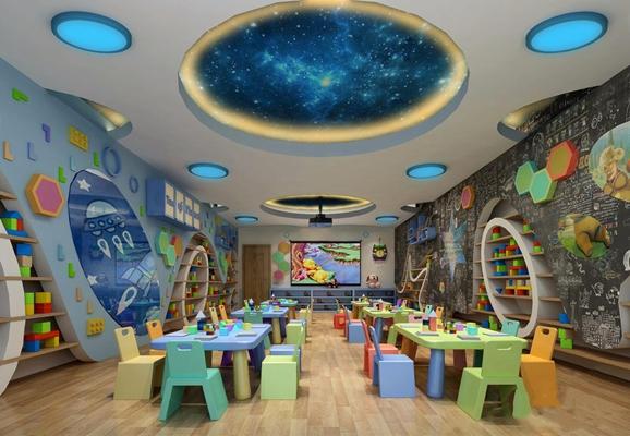 现代幼儿园教室3D模型【ID:128216068】