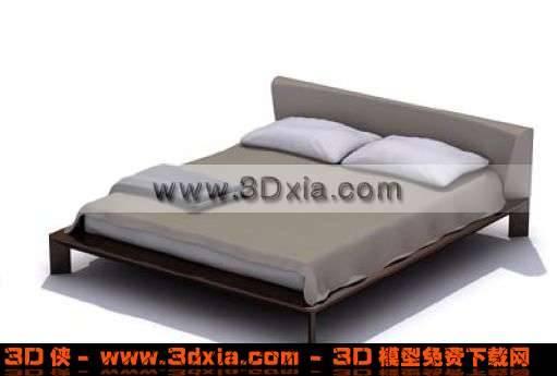 朴素的3D精美双人木床模型