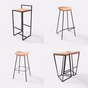 工业风吧椅吧凳3D模型【ID:327922180】