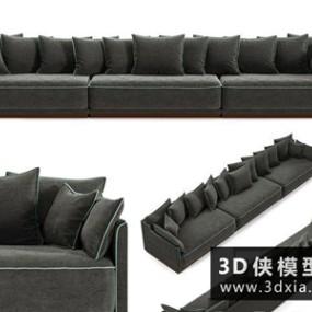 现代三人绒布沙发国外3D模型【ID:729341632】