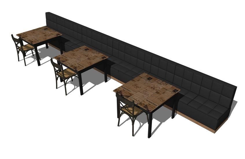 卡座餐桌SU模型【ID:636382647】
