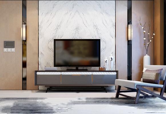 新中式电视柜单椅组合3D模型【ID:928351088】