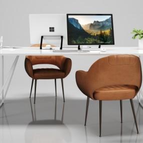 现代简约办公桌椅组合3D模型【ID:628458645】