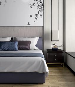 新中式布艺双人床床头柜吊灯组合3D模型【ID:727807078】