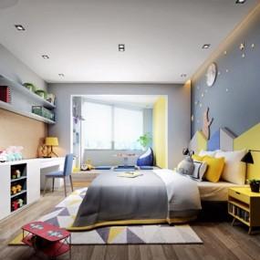 现代北欧儿童房3D模型【ID:127868274】