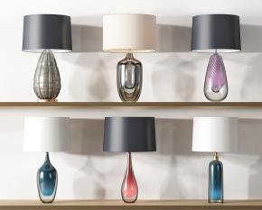 現代金屬玻璃臺燈組合3D模型【ID:627804199】