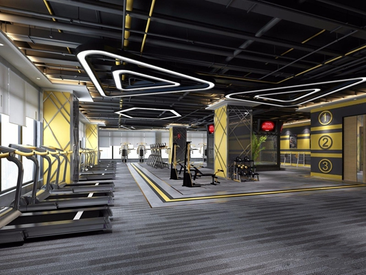 健身房器械区3D模型【ID:927968603】