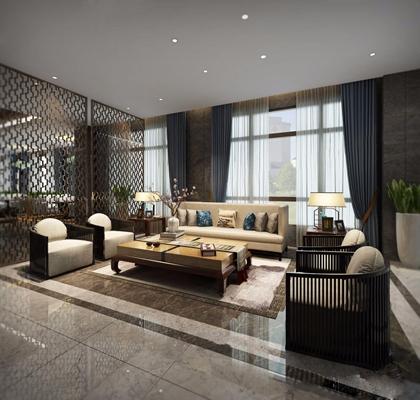 新中式酒店大堂3D模型【ID:427959272】