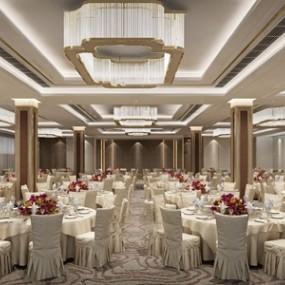 新中式宴会厅3d模型【ID:431402531】