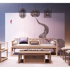 新中式沙发椅子吊灯组合3D模型【ID:127858018】