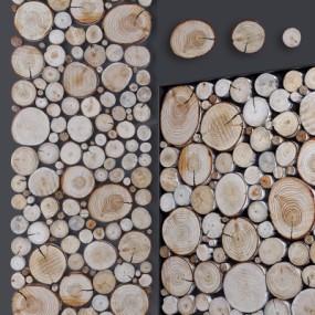 现代木头墙饰组合3D模型【ID:127774141】