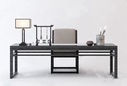 新中式书桌椅3D模型【ID:941804033】