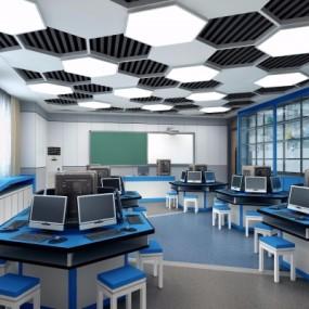 现代小学3d打印室创客空间3D模型【ID:527772811】