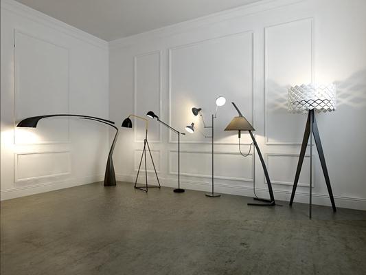 各種風格落地燈組合3D模型【ID:628043248】