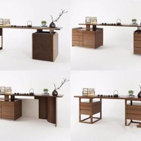 新中式办公桌书桌组合3D模型【ID:327928741】