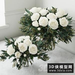 裝飾玫瑰花國外3D模型【ID:929322884】