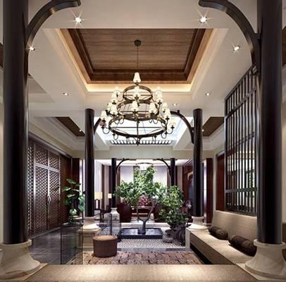 新中式酒店休息区3D模型【ID:514914200】